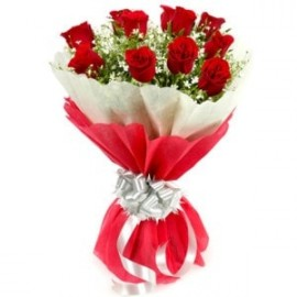 Red Rose Bunch in Paper Packing