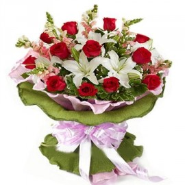 White Lilies With red Rose Bunch