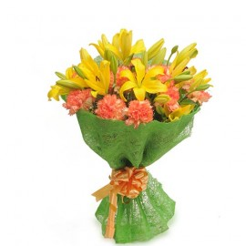 Yellow Lilies Pink Rose Bunch