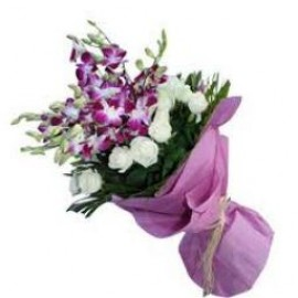 Orchid and White Rose Bunch