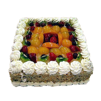 Large Fruit Cake with Black Forest