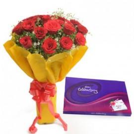 Red Flower with Cadbury Celebration