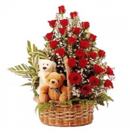 two teddy with Flower Basket