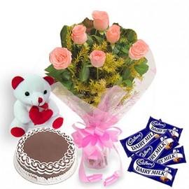 Teddy cake Choco and flower