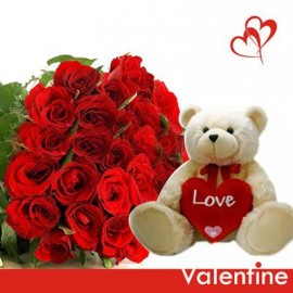 30 Rose with Mix love teddy