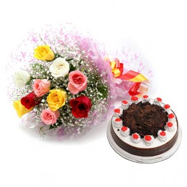 10 mix flower and black forest cake