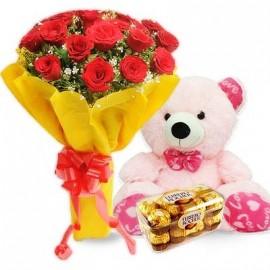 Ferro Rocher flower with teddy