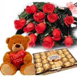 Ferro Rocher teddy and Flower combo