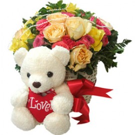 Teddy on load mix flower