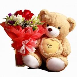 Love u teddy with flower