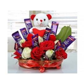 Flower Choco Basket with teddy