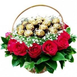 Ferro Rocher basket with flower